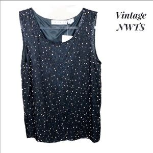 NWT Vintage Scala Beaded Lined Tank Med
